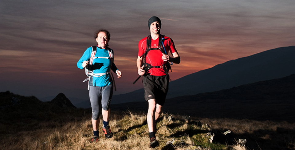 Rachel Hill and Paul Williams enjoying a dawn run up Carnedd y Cribau in Snowdonia , 77 kb