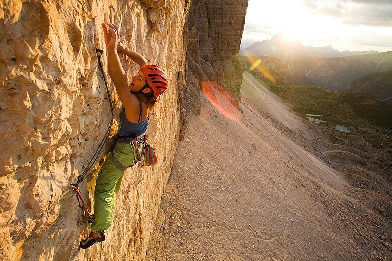 Alex Schweikart on pitch four of the 8a+/b Dolomites route of Camillotte Pellesier, 172 kb