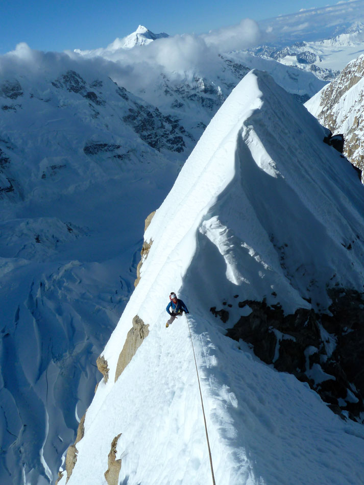 Tom Ripley atop the Japanese Couloir, 131 kb