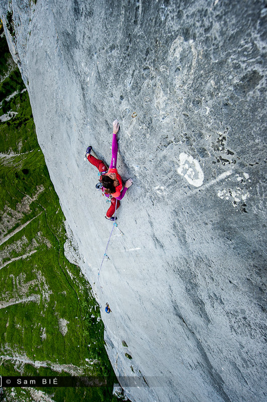Nina Caprez on the multipitch 8b+ of Carnet d'Adresse, on the Rocher du Midi, Chartreuse, France, 177 kb