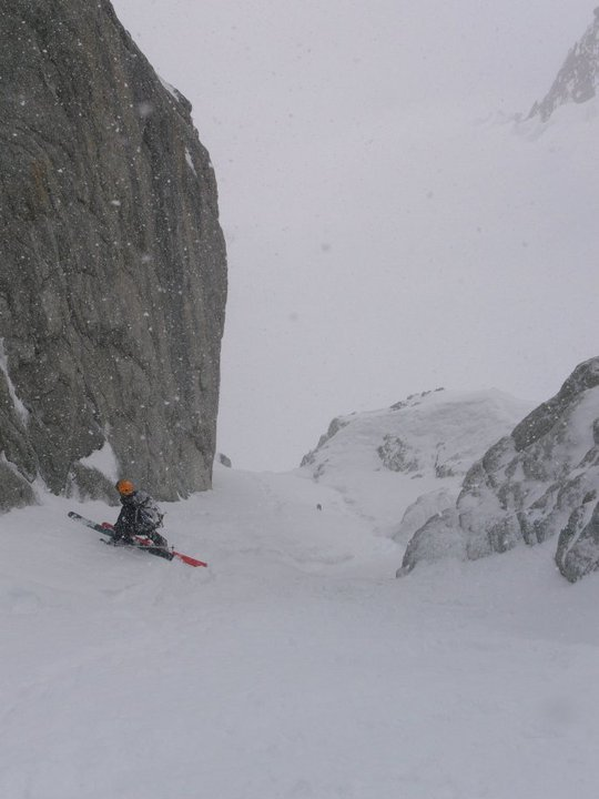 Tom Grant just above a short rappel in the Diable, 46 kb