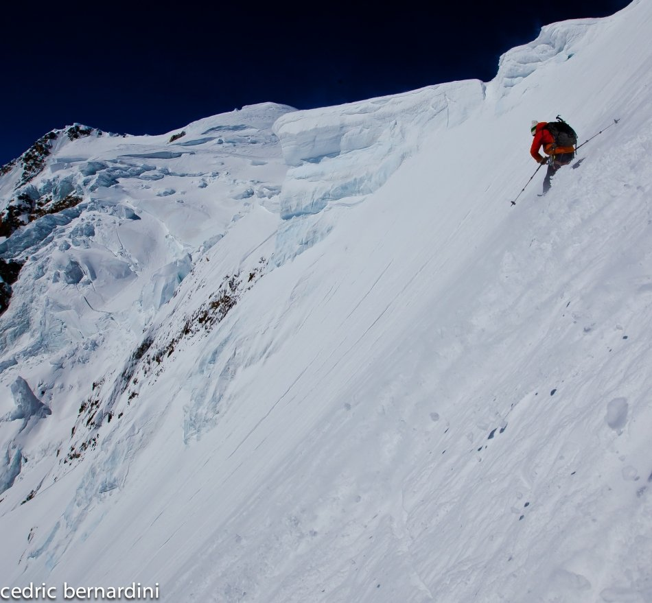 Tom Grant skiing under the seracs of the Col de La Brenva, 109 kb