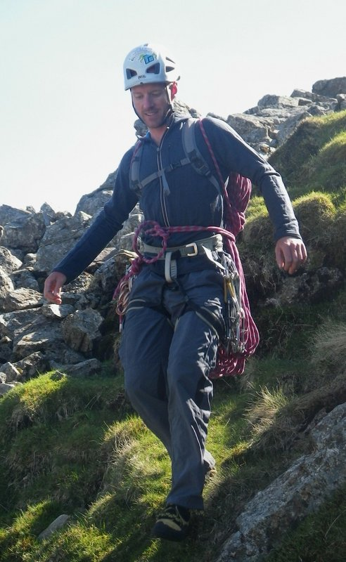 Descending to the base of Scafell crag after climbing Central Buttress, 100 kb