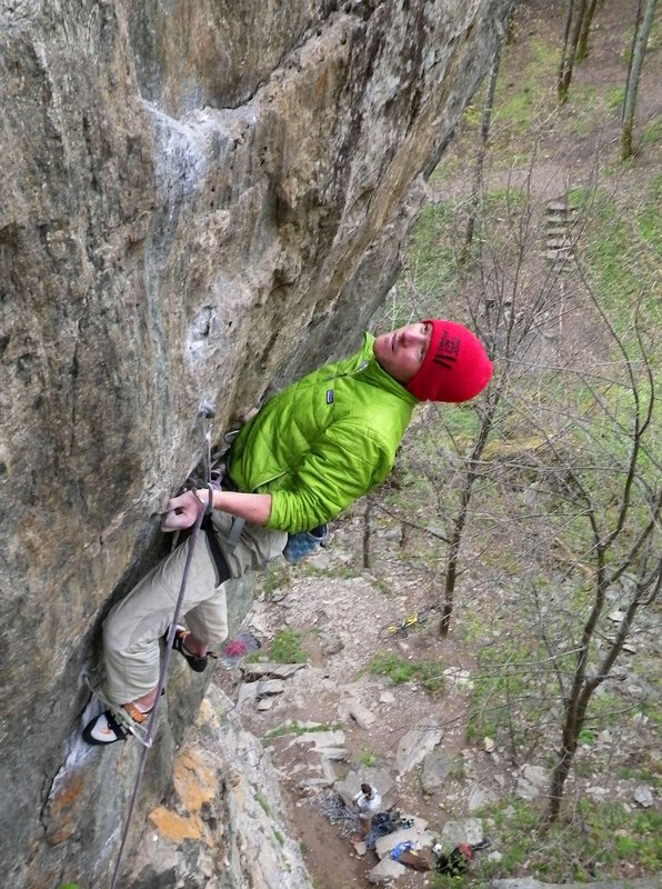 """Heading for the crux hold on """"Barracuda"""", Les Gaillands. (It's further than it looks!) Photo Tom Moores, 166 kb"""