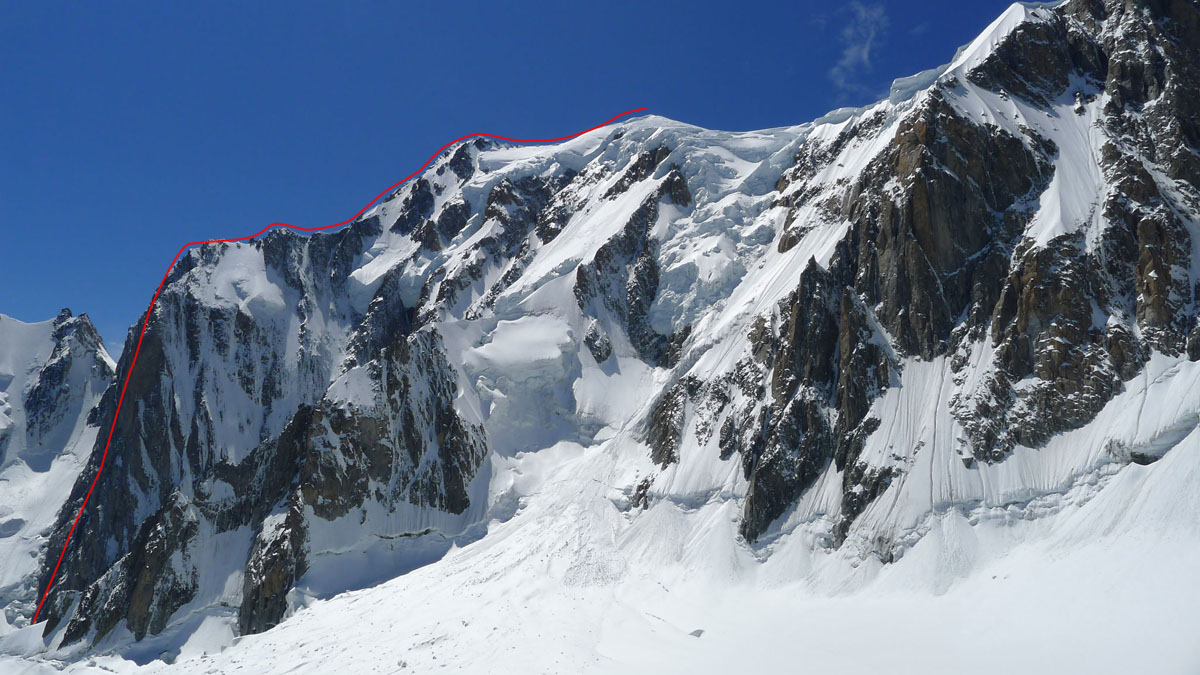 An overview of the Grand Pilier d'Angle, Mont Blanc, 217 kb