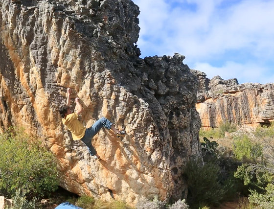 Paul Robinson on Oliphant's dawn, 8B+, Rocklands, South Africa, 93 kb