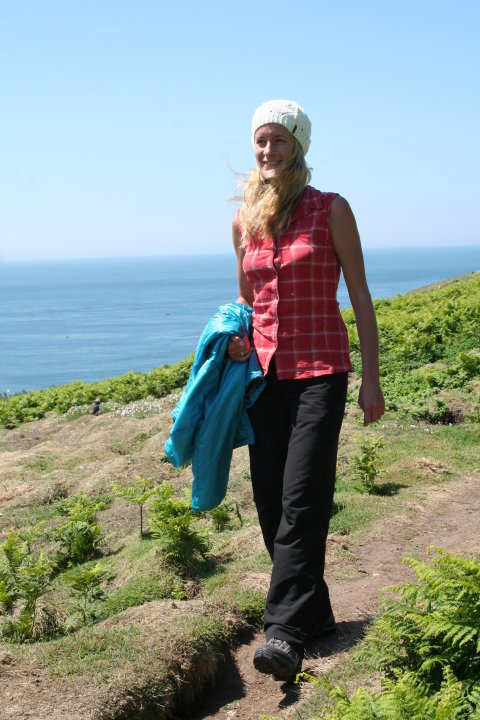 Sarah Stirling testing the Patagonia Simple Guide Pants in Pembrokeshire, 86 kb