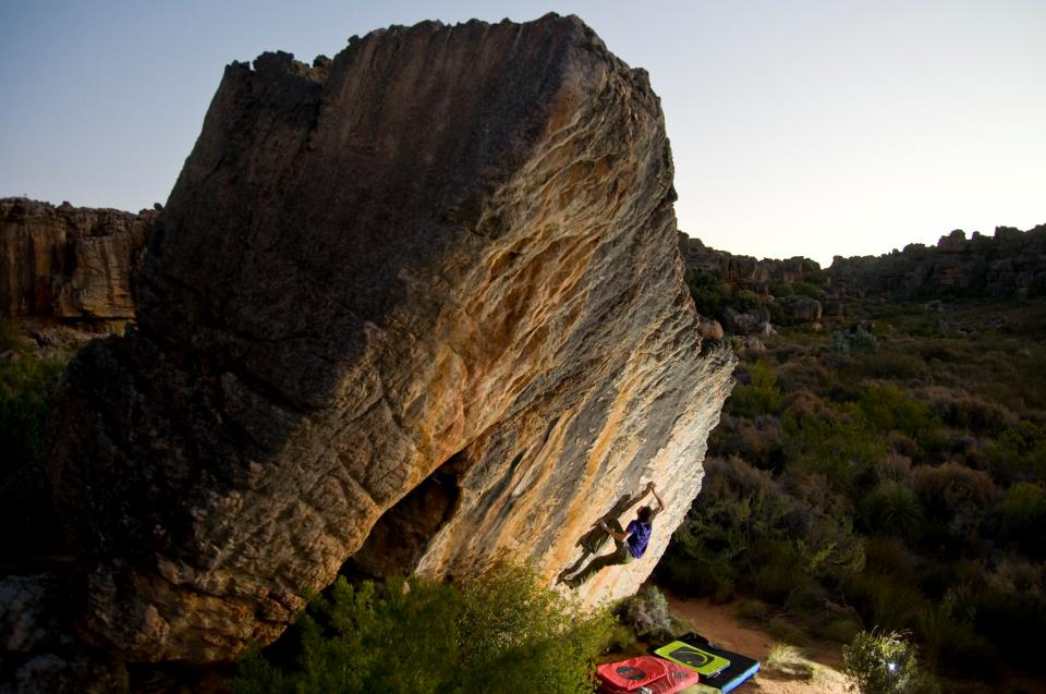 Fabian Buhl on Oliphant's dawn, 8B+, Rocklands, South Africa, 83 kb