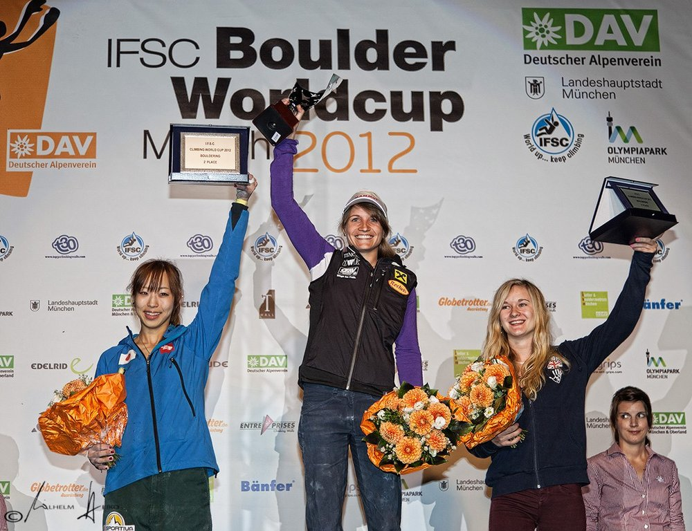 Akio Noguchi, Anna Stoer and Shauna Coxsey on the podium in Munich, taking the titles for the overall world cup, 166 kb