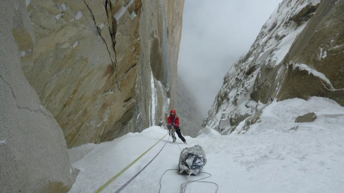 Underneath the steep upper reaches of the new route on Trango, 48 kb