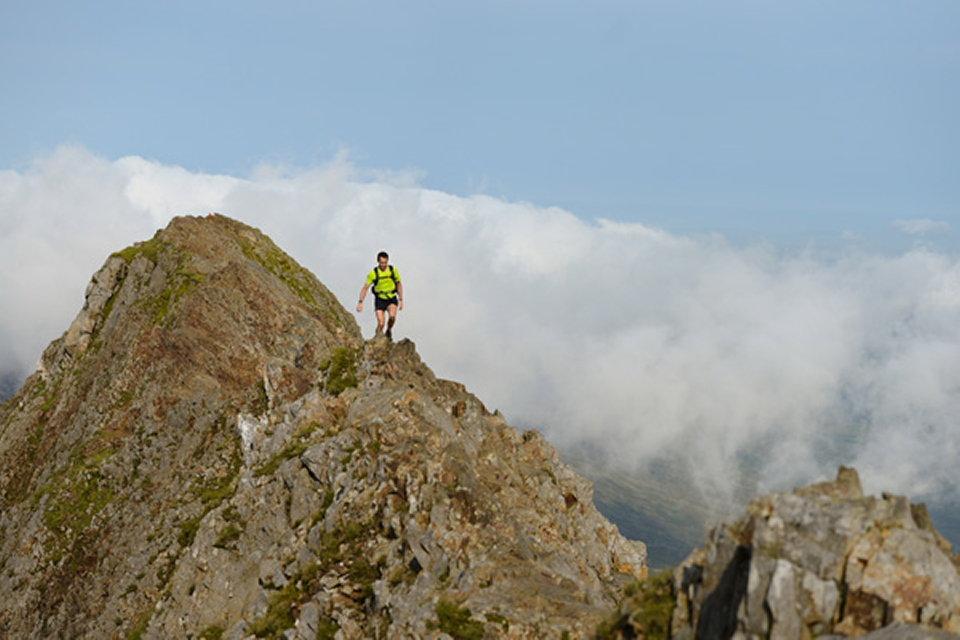 Matt Fortes making the airy traverse along Crib Goch (Day One)  , 89 kb