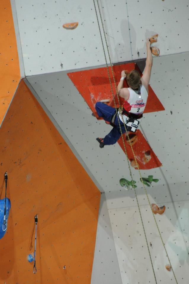 Fran Brown cranking to first place in the finals of the 2012 Paraclimbing World Championships, 51 kb