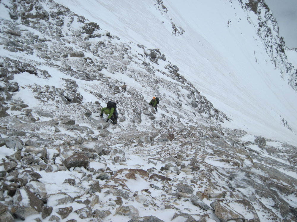 Dunglung Khangri SW Face. Loose mixed ground between icefields. Climbers Paul Figg & Simon Yearsley. Photo Malcolm Bass, 215 kb