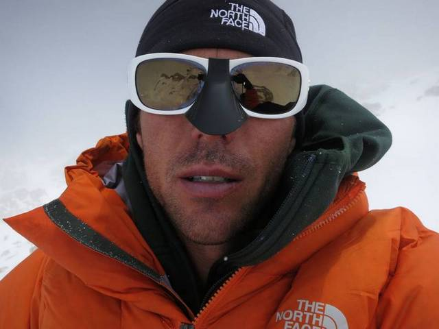 Andy Houseman takes a self-portrait 'Looking pretty tired on Kahiltna Horn just below the summit', 28 kb