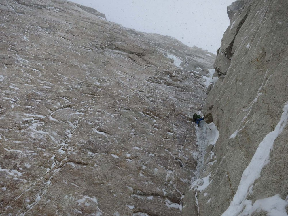 Nick Bullock on the classic steep ice pitch of the corner, with the big granite wall on his left looking very Scottish!, 193 kb