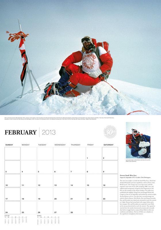 Sample page from the 2013 Boardman Tasker Calendar. Image of Pete Boardman on the summit of Everest, 1975. Photo: Peter Boardma, 72 kb