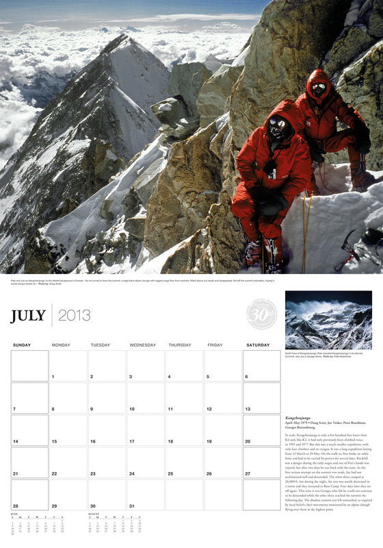 Sample page from the 2013 Boardman Tasker Calendar. Image of Pete and Joe on Kangchenjunga, 1979. Photo: Doug Scott., 112 kb