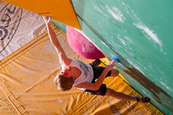 Competing in the British Junior Bouldering Championships 2012 , 192 kb