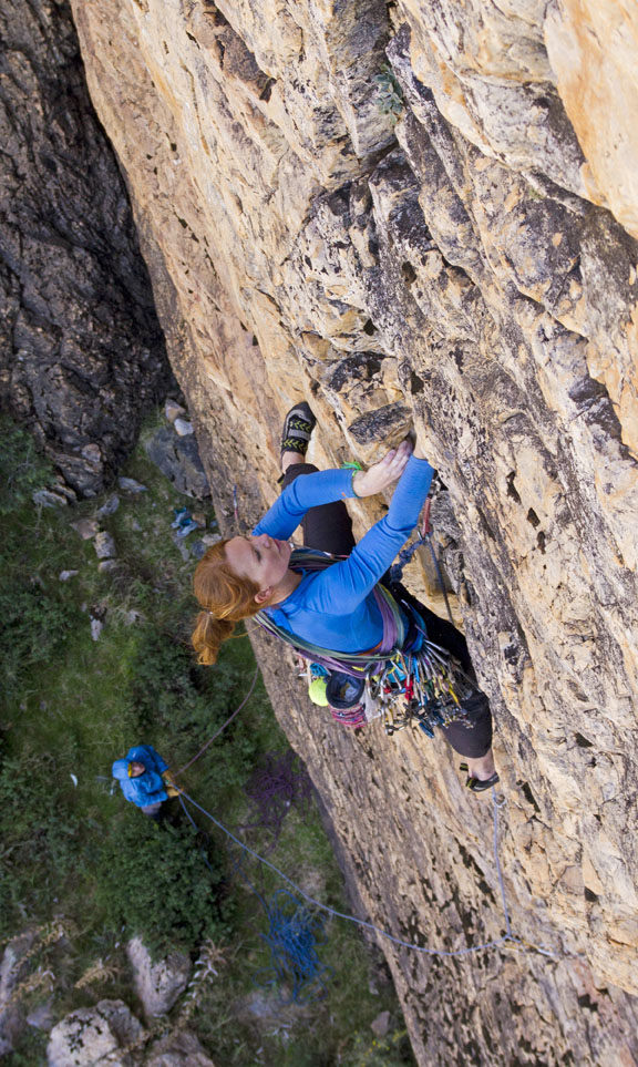 Jessie Rushbrooke concentrating on the technical first pitch of Icebreaker E3 5c, in the Samazar Valley, 214 kb