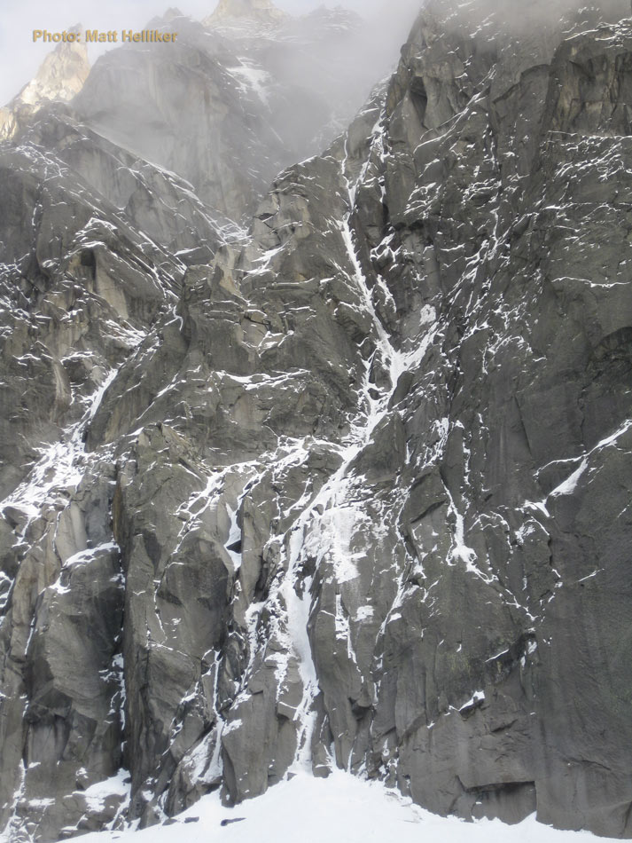 The line of Beyond Good and Evil on the north face of the Pelerins. The crux top pitches are out of sight., 159 kb