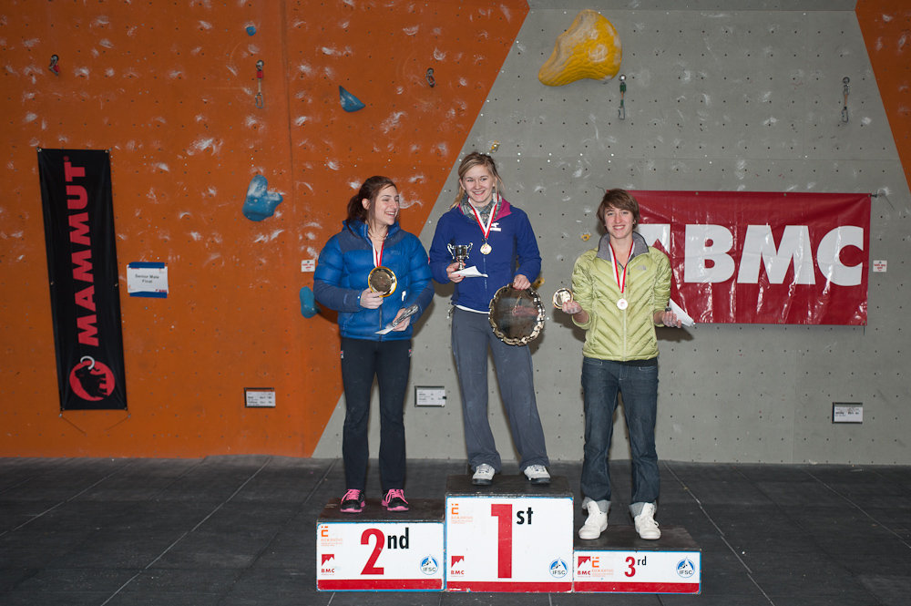 BLCC 2012 - The female champions: Alex Puccio (L), Shauna Coxsey and Michaela Tracy. , 170 kb