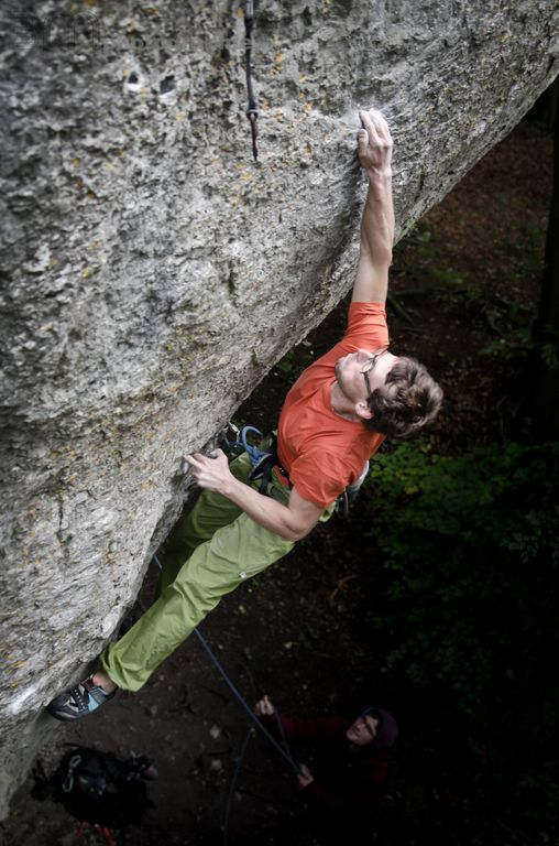 Manuel Brunn on The Elder Statesman, ~9a, Frankenjura, 77 kb