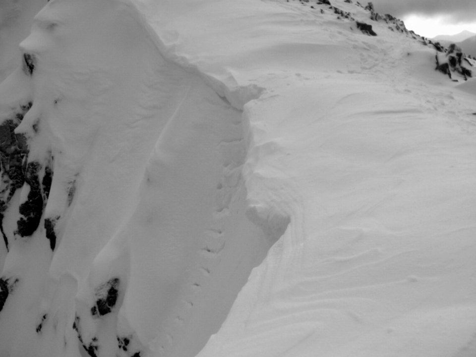Cornice exit Stob Coire nam Beith, showing cut steps, 52 kb