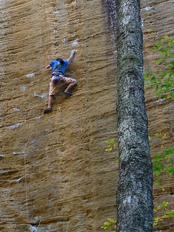Ashima Shiraishi on God's own stone, 8b+, Red River Gorge, Kentucky, 145 kb