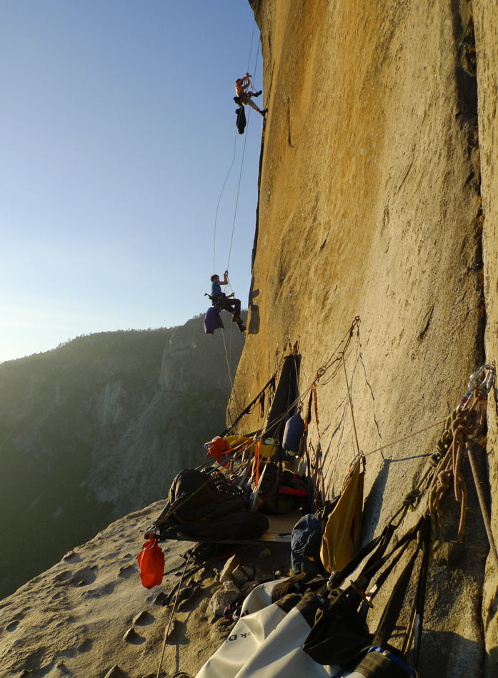 Chicken Head Ledge, an amazing bivy for two nights. Here Caff and Neil jug up to try the final crux 13c corner., 147 kb