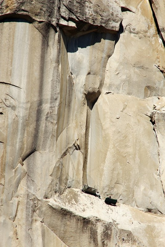 The team on ledges below the holdless corner., 122 kb