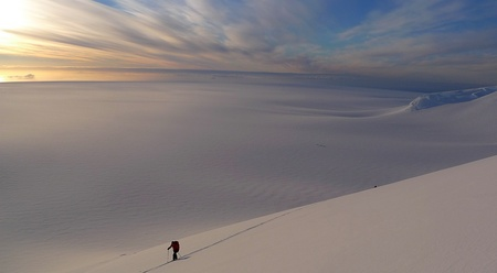Starting the night ascent of Mt Agamemnon with view over the Marr Ice Piedmont, Anvers Island. Antarctic Peninsula, 32 kb
