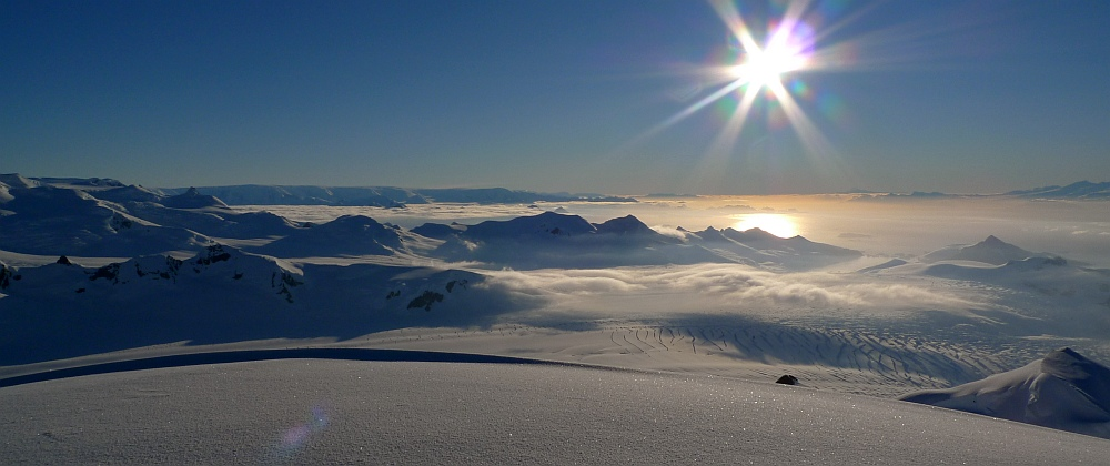 Unclimbed mountains as far as you can see� view down the Antarctic Peninsula to Brabant and Anvers Islands, 148 kb