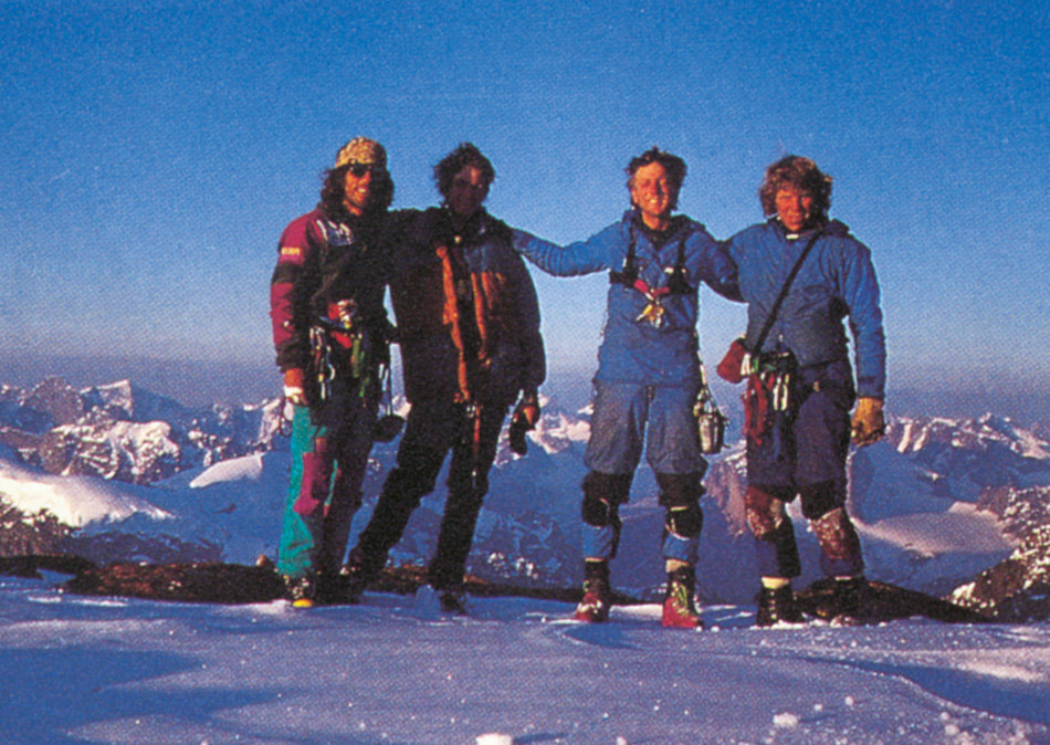 (L–R) Jordi Tosas, Noel Craine, Paul Pritchard and Steve Quinlan on the summit of Mt Asgard after making the first ascent of Hy, 195 kb
