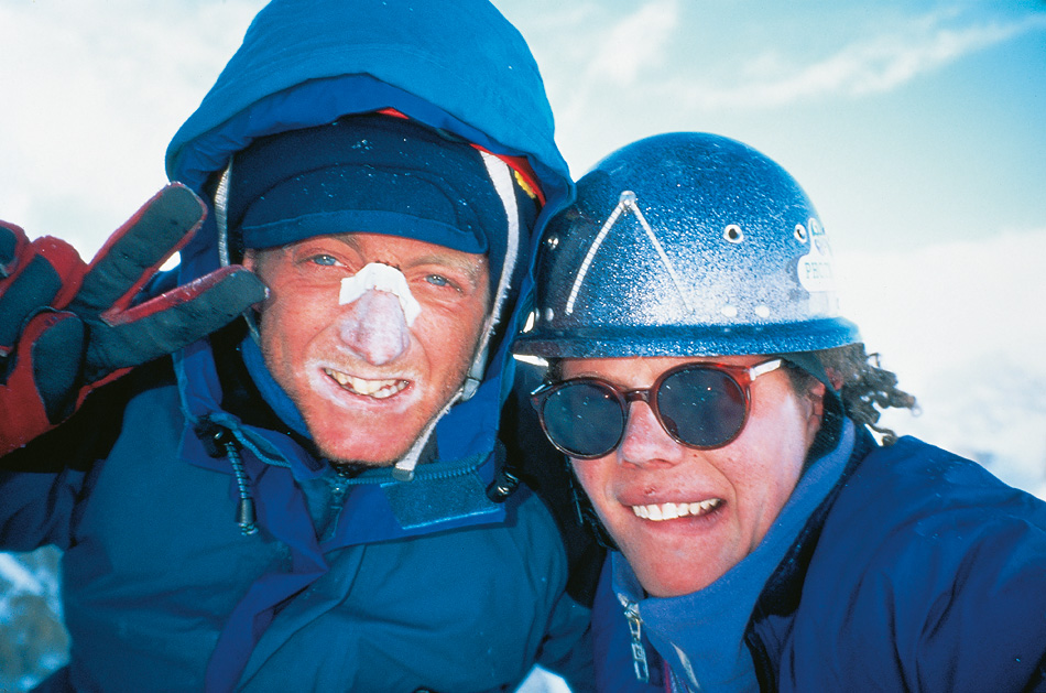 Adam Wainwright (left) and Paul Pritchard on the summit of Trango Tower in 1995 having climbed the Slovene Route, 229 kb