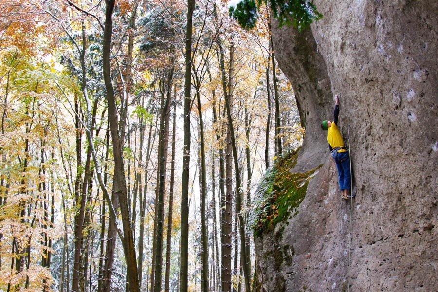 Stew Watson climbing Wallstreet (8c) Frankenjura, Germany, 226 kb