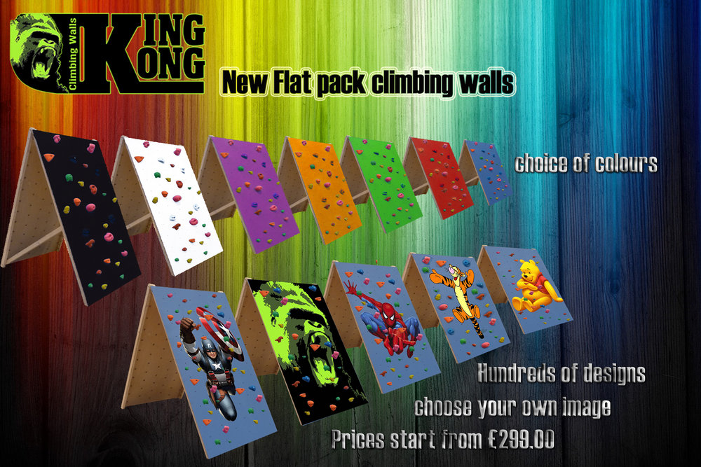 New flat pack climbing walls with custom logos, 214 kb
