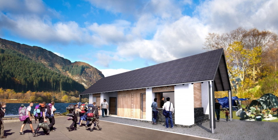 Artist's impression of new facilities at Loch Lubnaig, 105 kb