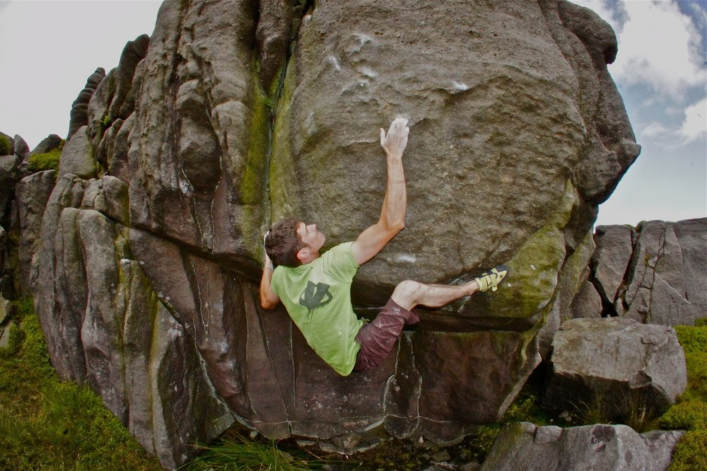 Tom Peckitt on The Uncertainty Principle, 8A+, 160 kb