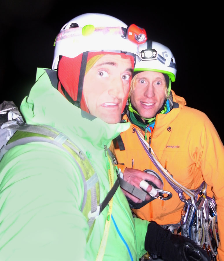 Matt and Jon on the summit, 7 hours of abseiling to go!, 119 kb