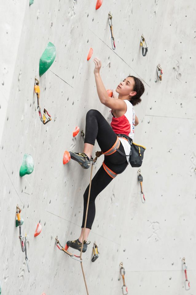 Molly Thompson-Smith competing at Imst, Austria in the EYC, 52 kb