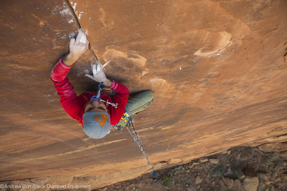 Peewee on the First Ascent of Mexican Snow Fairy (5.13+), 165 kb