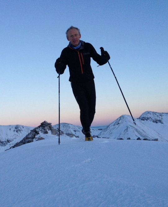 Tom still going strong in the Mamores, 44 kb