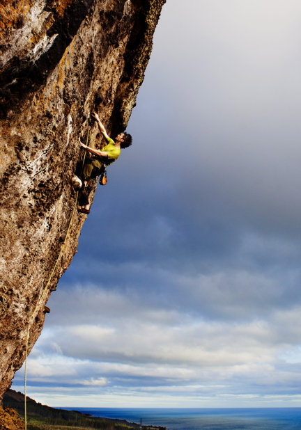 Champ at the Bit (7a+) on Silver Rock, the most northerly mainland sport crag in Scotland, 85 kb