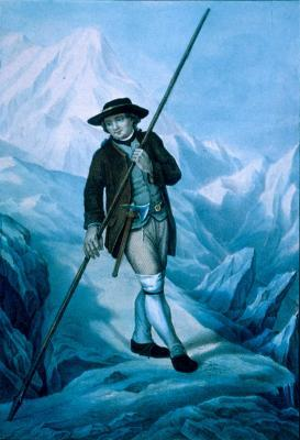Jacques Balmat, who completed the first ascent of Mont Blanc, with an axe and an alpenstock (1786), 19 kb