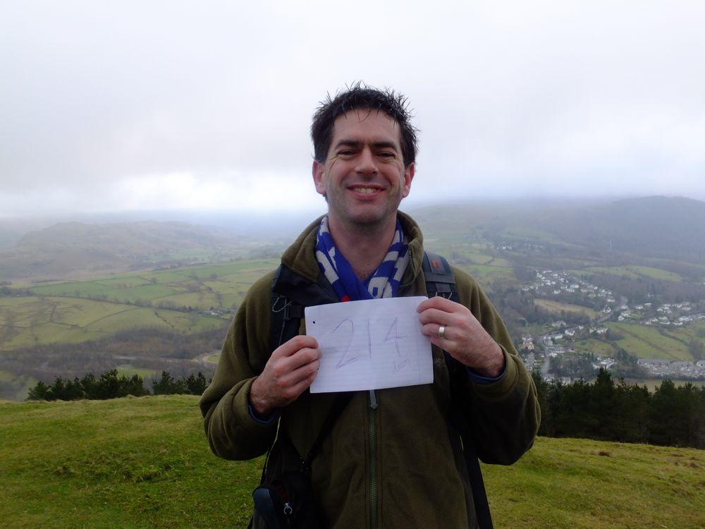 Drew pulls a cheesy grin on his last summit, Lattrigg, 73 kb