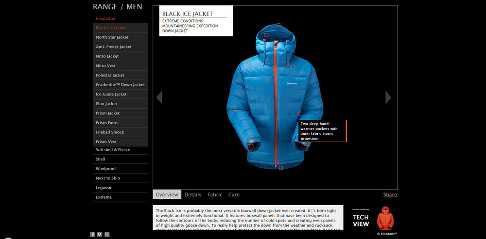 View each product's features by hovering over hotspots in the 'Tech view' image, 72 kb