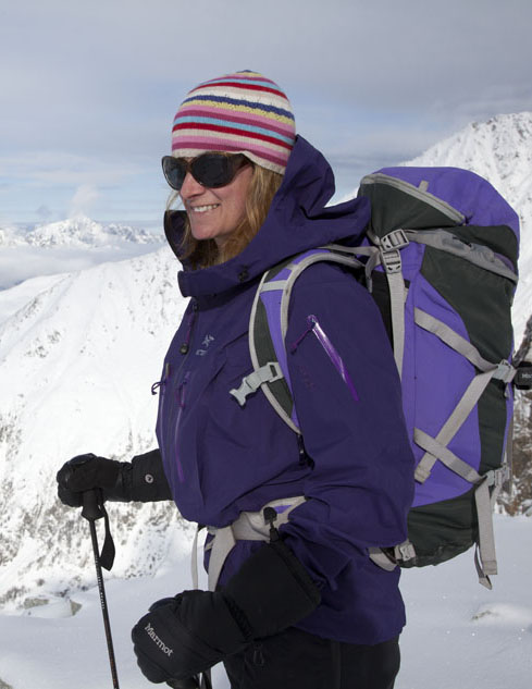 Sarah Stirling testing the Arc'teryx Alpha SV Jacket, 68 kb