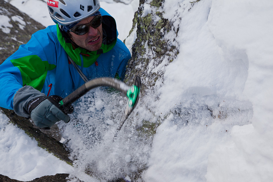 Viv Scott testing the DMM Apex axes at Sector Ecosse, Argentiere, Chamonix, 211 kb