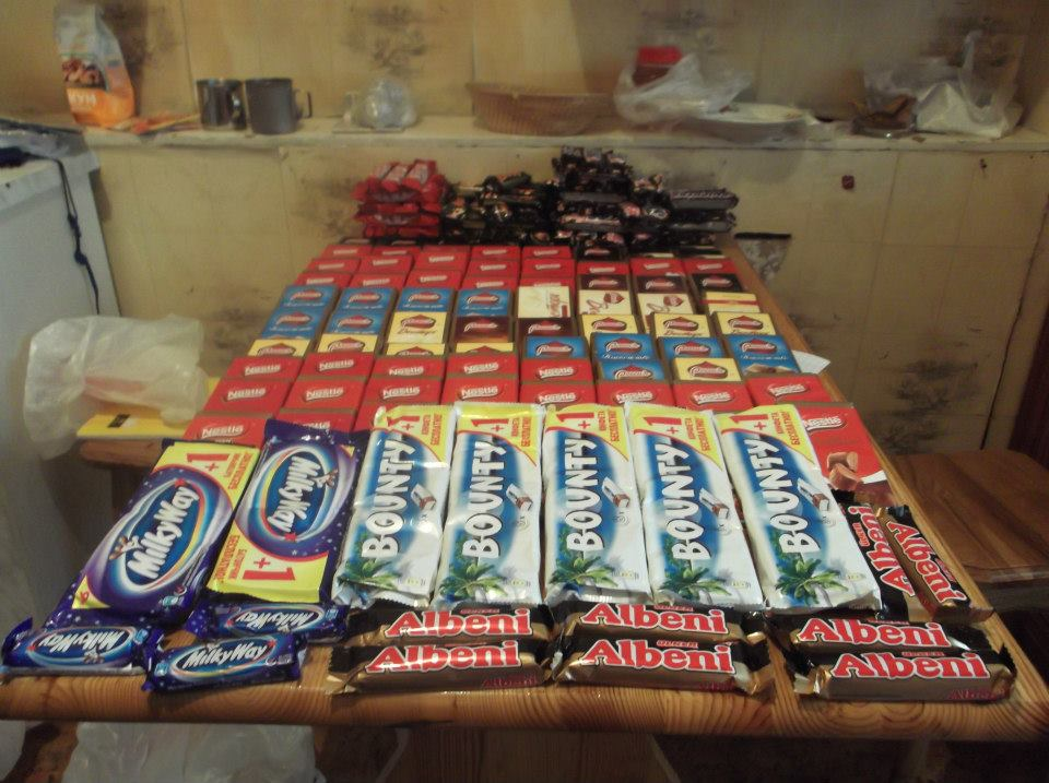 Tip of the Iceberg- Just some of the twenty odd kilograms of chocolate that we took with us., 111 kb