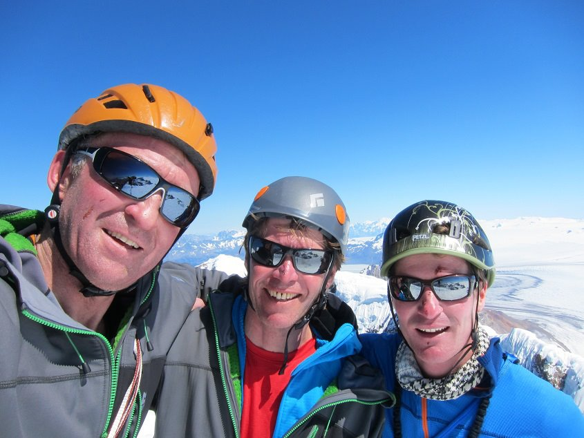 Dave Turnbull, Dan Donovan and Stu McAleese on the summit of Cerro Torre, 92 kb